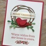 Swirly bird wreath Christmas card