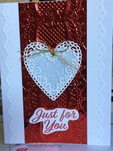 Valentine card using Lace 3D embossing folder and Be Mine dies