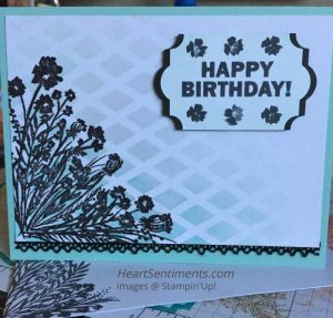 Corner Bouquet silhouette Birdthday card