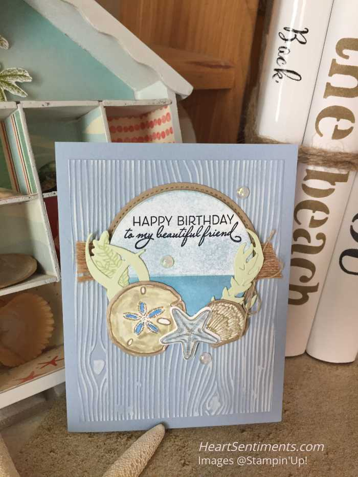 Friends are like seashells card with background