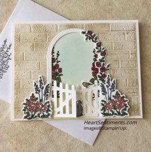 Grace's Garden card with brick background